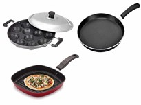 BMS Lifestyle Non Stick Breakfast Combo 12 Cavity Appam Patra Maker Dosa Tawa and Grill Pan Cookware Set 3 Pieces Black